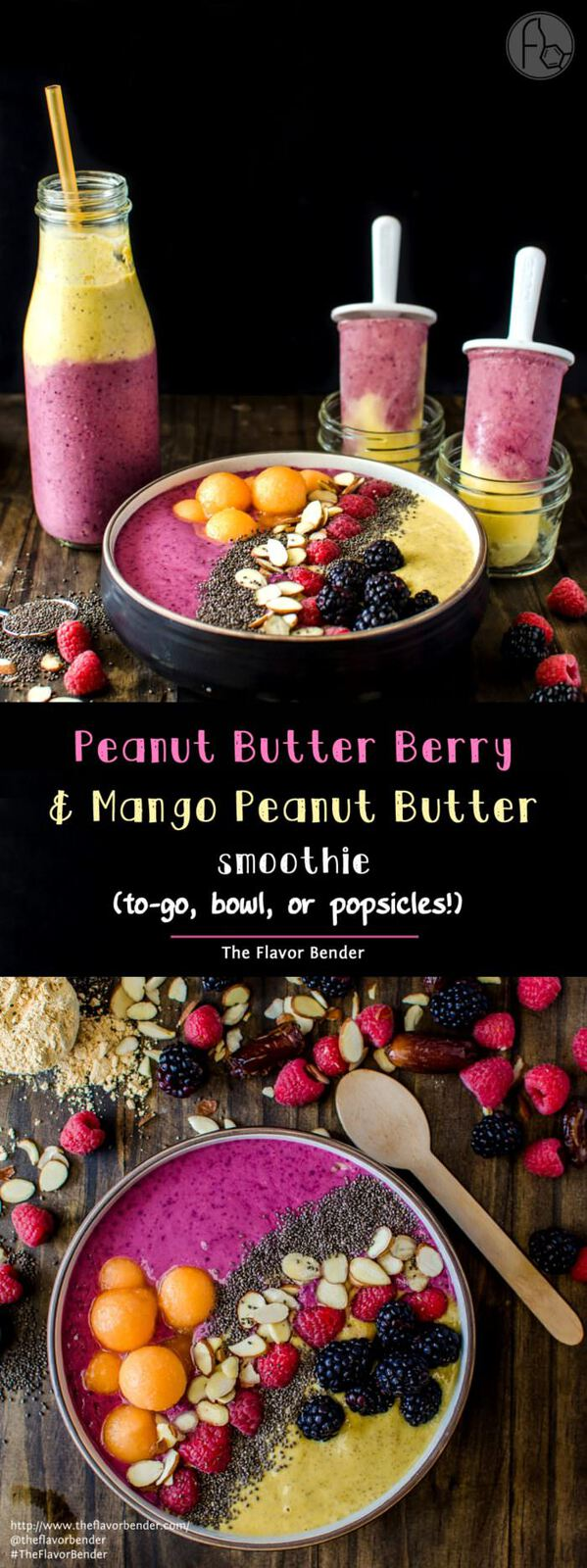 Date, Peanut Butter Berry Smoothie Bowl with Mango Peanut Butter smoothie - a Secret ingredient that makes this taste AMAZING will have you hooked to this protein packed delicious smoothie! Perfect as an On the Go layered smoothie, or freeze them for PERFECT after school snack! This is #MySmoothie REPIN to save. CLICK to get the recipe! #TheFlavorBender [ad]