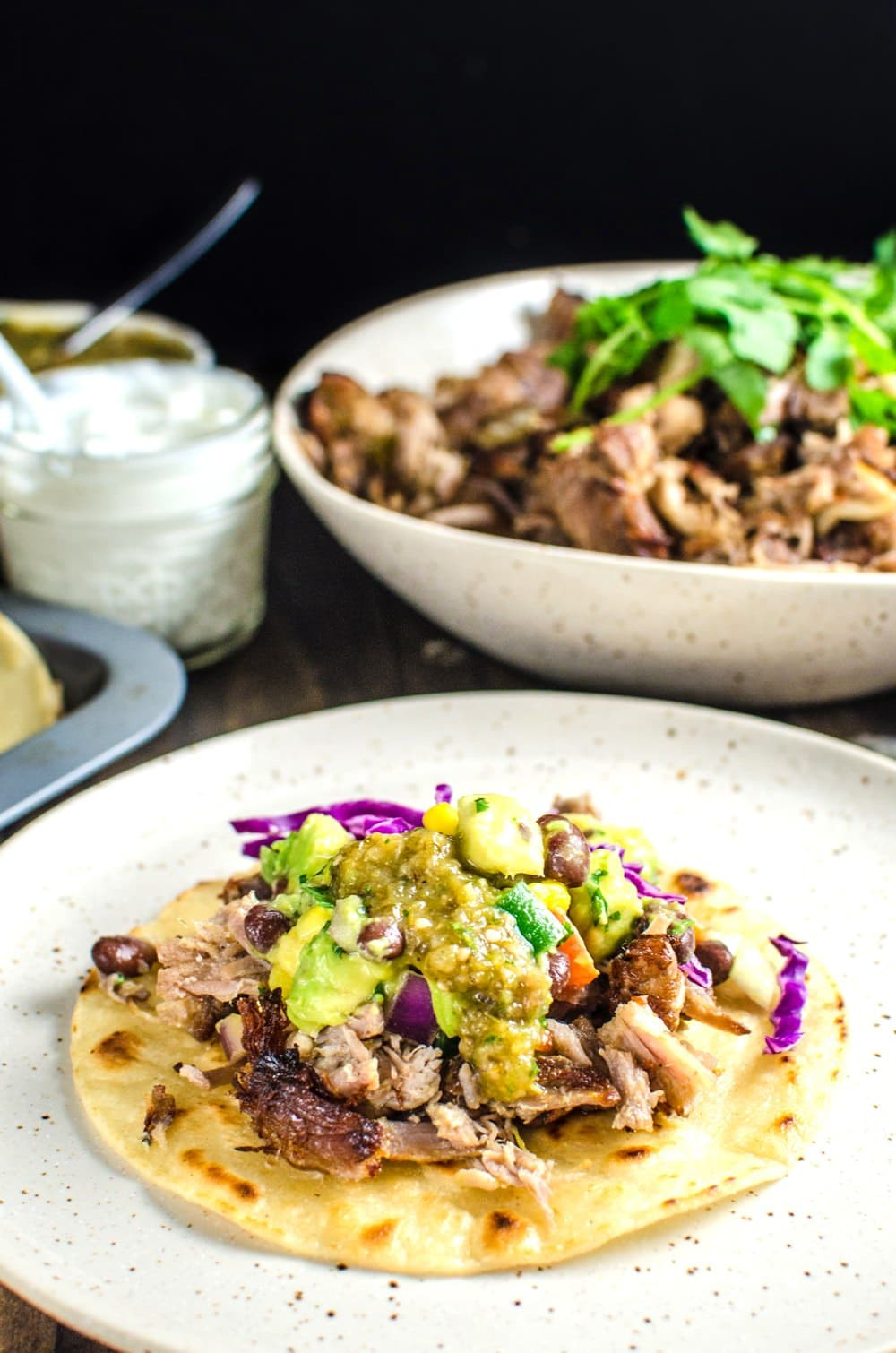 Pork Carnitas Tacos with Mango Black Bean Salsa and Salsa Verde - Make ...