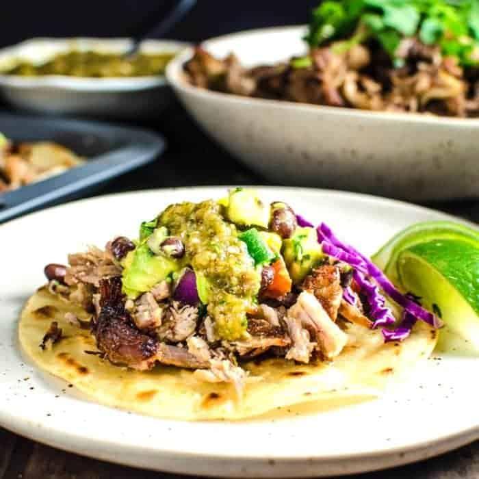Pork Carnitas Tacos with Mango Black Bean Salsa