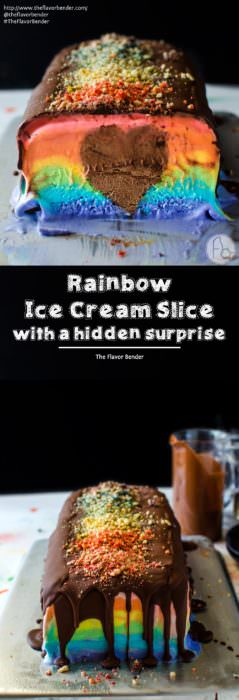 Rainbow Ice Cream Slice with a Hidden Surprise -A deliciously creamy rainbow ice cream slicein bright rainbow colors with a rich, creamy, heart-shaped chocolate mousse center! A fabulous no bake Summer dessertto share withall the people that we love in our lives. SAVE to repin. CLICK to get RECIPE + VIDEO