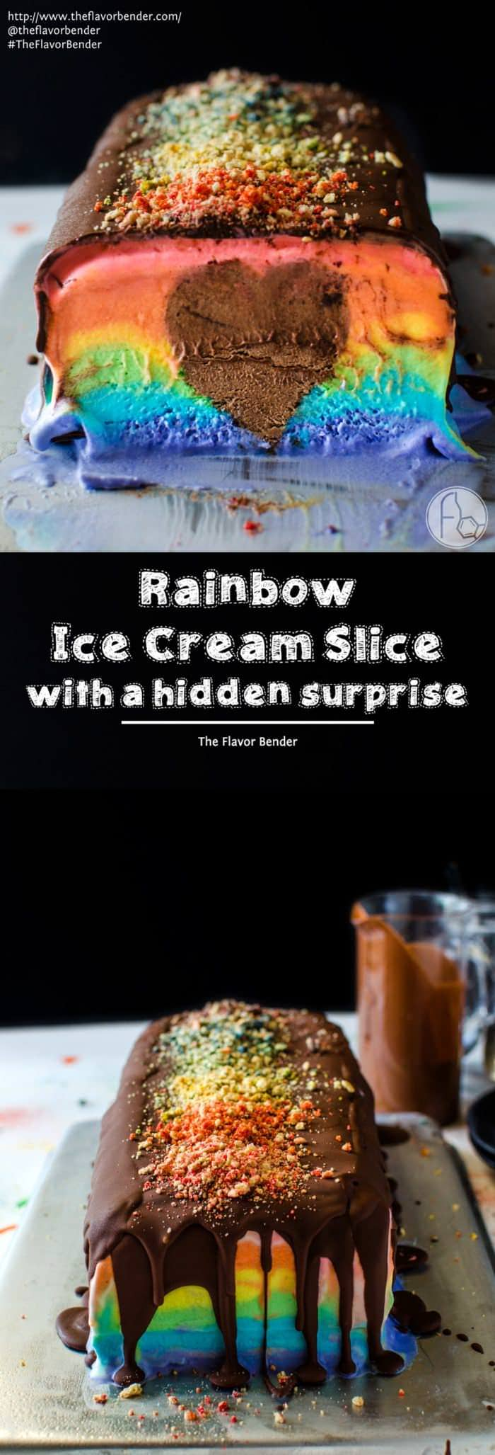 Rainbow Ice Cream Slice with a Hidden Surprise - A deliciously creamy rainbow ice cream slice in bright rainbow colors with a rich, creamy, heart-shaped chocolate mousse center! A fabulous no bake Summer dessert to share with all the people that we love in our lives. SAVE to repin. CLICK to get RECIPE + VIDEO