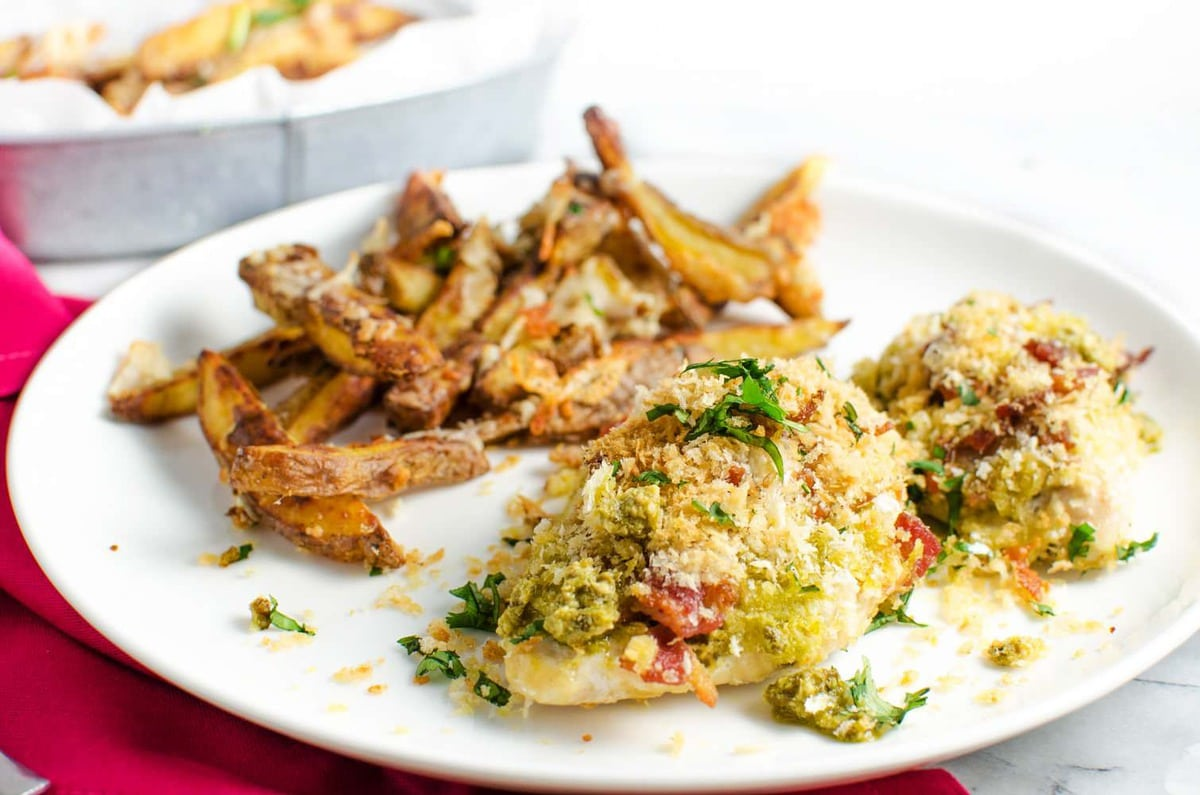 Pesto and Bacon crusted Chicken Breast with Parmesan Potato Fries ...