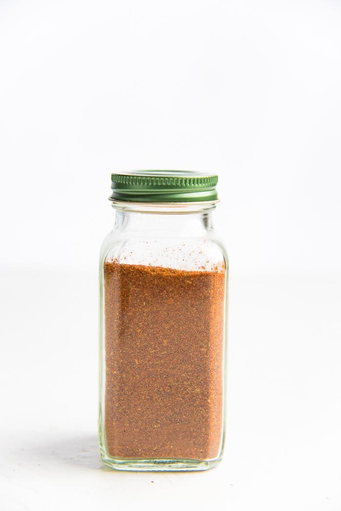 Cajun spice mix blended and stored in a spice jar
