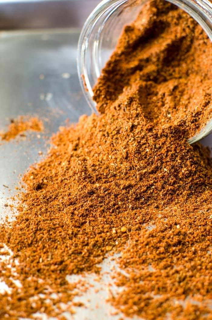 Cajun Seasoning on a tray after being blended to show texture of the spice blend.