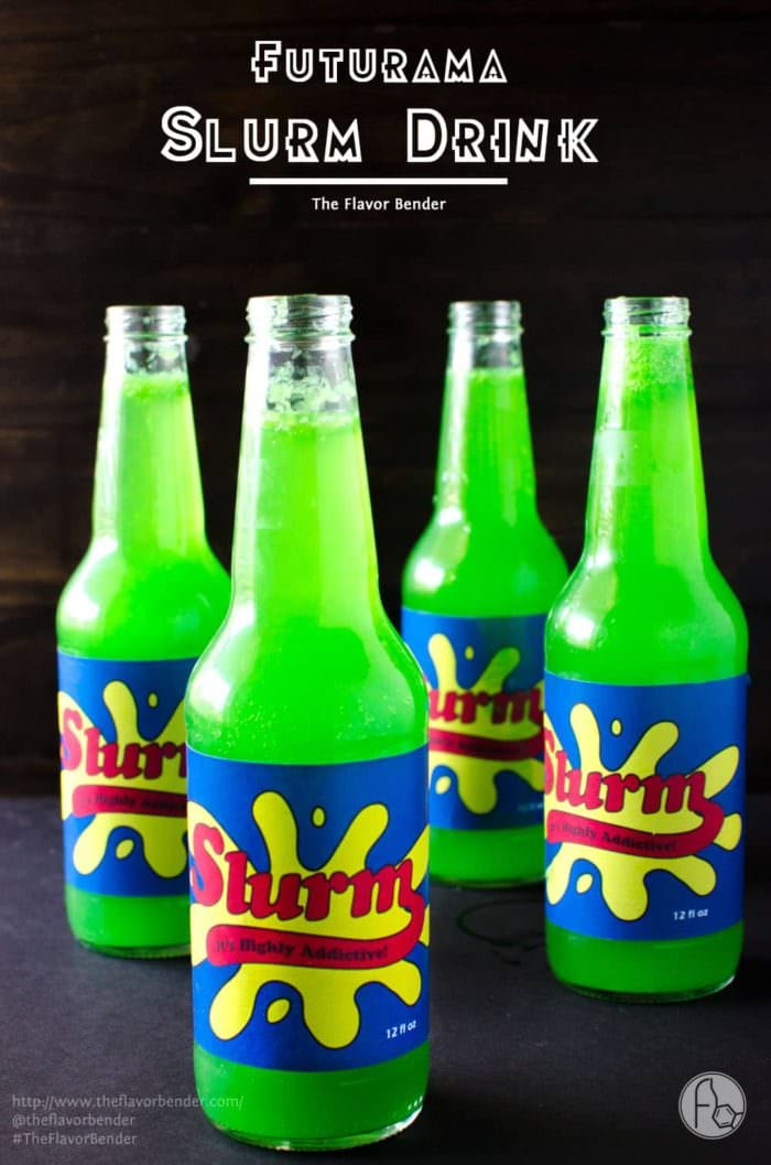 Homemade Slurm Drink from Futurama - sweet, tart, refreshing sparkling limeade with the spicy warmth of ginger! Kids will love the bright green shade and the sweet and tart ginger limeade, or spike it with some vodka for the adults.