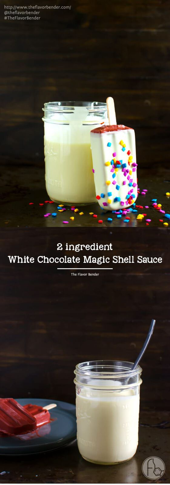 White Chocolate Magic Shell Sauce - Two ingredients, and one minute are all you need to make this easy White Chocolate Magic Shell Sauce and transform all your cold desserts with a little bit of creamy white chocolate awesomeness!