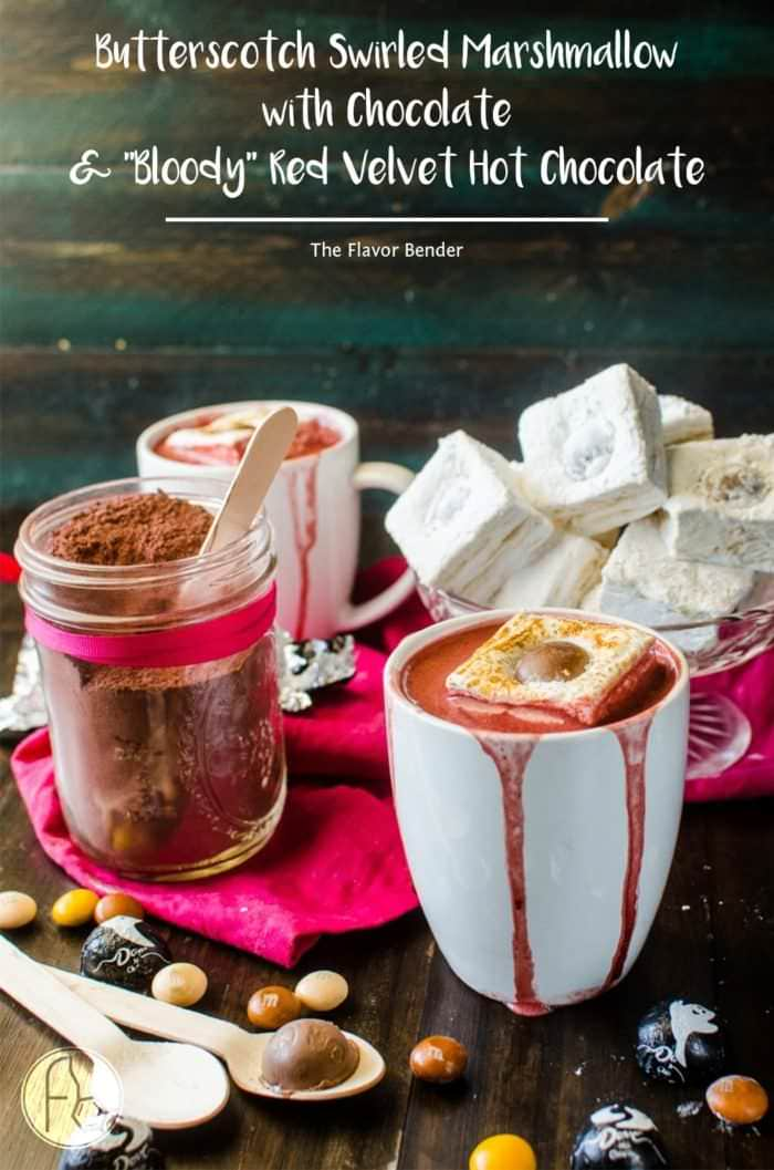 """Butterscotch swirled Marshmallow with Red Velvet Hot Chocolate - These Butterscotch swirled Marshmallows are perfect for gift giving or for smores or to top off your warm delicious holiday drinks! Add some chocolate to make """"googly eye"""" Marshmallows to top your """"bloody"""" Red Velvet Hot Chocolate for Halloween!"""