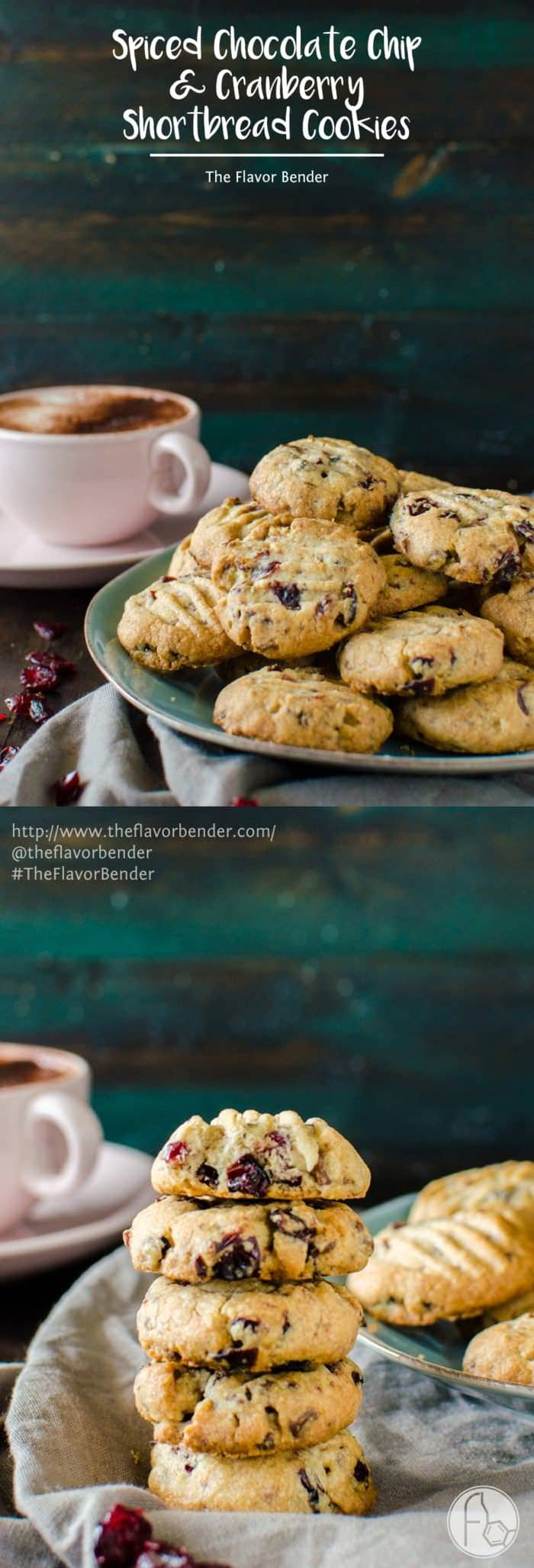 Chocolate Chip & Cranberry Shortbread Cookies - Crisp, buttery, crumbly shortbread cookies, studded with bits of milk chocolate and dried cranberries and spiced with warming spices like cinnamon, nutmeg and allspice, that are unbelievably (repeat, unbelievably!) easy to make and great for holiday baking!