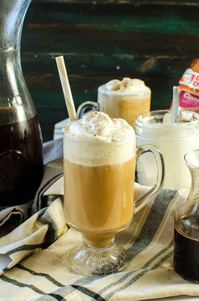 Cinnamon Flavored Cold Brew Coffee - Easy Cold Brew Coffee with pre ground fresh coffee. Make a delicious Cinnamon flavored Cold Brew coffee or frappucino with Cinnamon infused syrup, Cinnamon flavored Coffee and Half and half! Perfect indulgent cafe style Coffee in the comfort of your home!