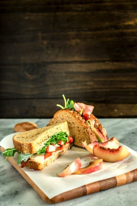 Nectarine, Roasted Pepper and Ham Sandwiches