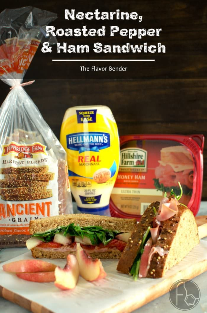 Nectarine Roasted Pepper and Ham Sandwiches are the perfect Summer Lunch idea! Packed with fruits and veggies and bright flavors and delicious thinly sliced honey ham and creamy mayonnaise! #SandwichWithTheBest #ad @PepperidgeFarm @TheFlavorBender