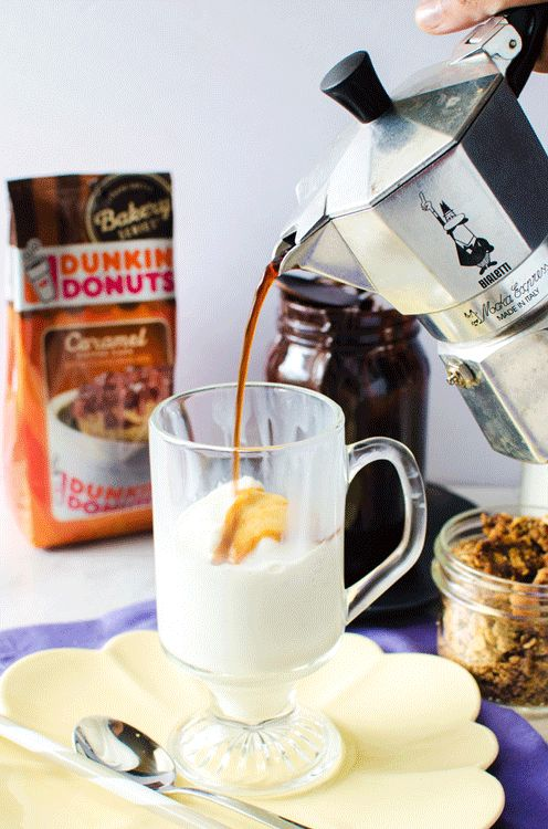Coffee Affogato Ice Cream Sundae with Chocolate Fudge and Crunchy Coffee Streusel - Inspired and made with caramel coffee cake flavored coffee from Dunkin' Donuts! It's a cup of coffee with a side of delicious indulgence. #DunkinAtHome
