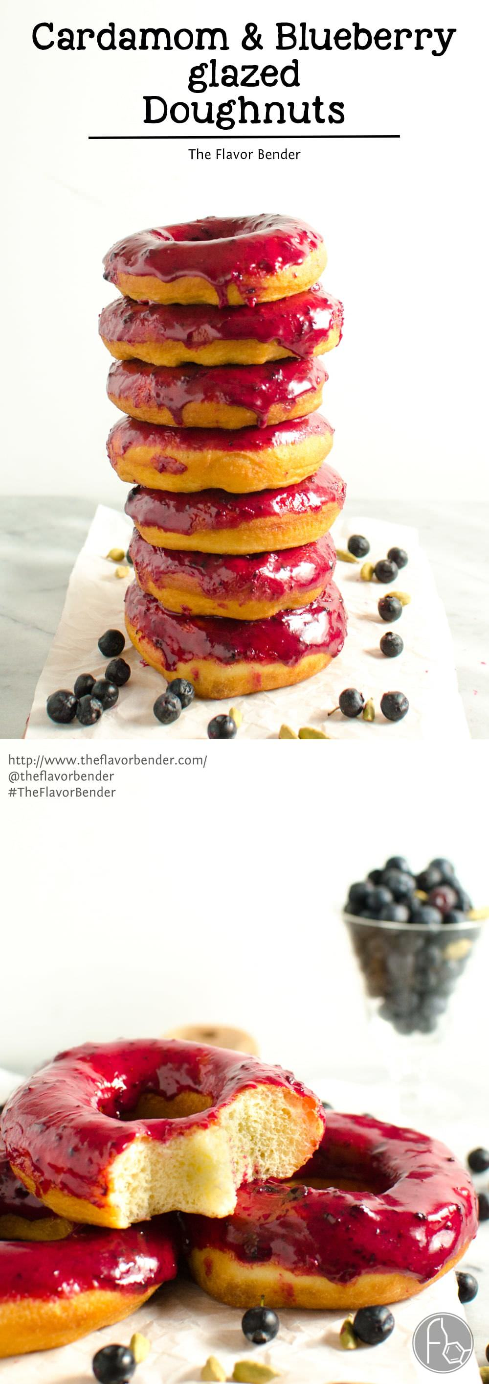 Cardamom and Blueberry glazed doughnuts - warm, aromatic cardamom ...