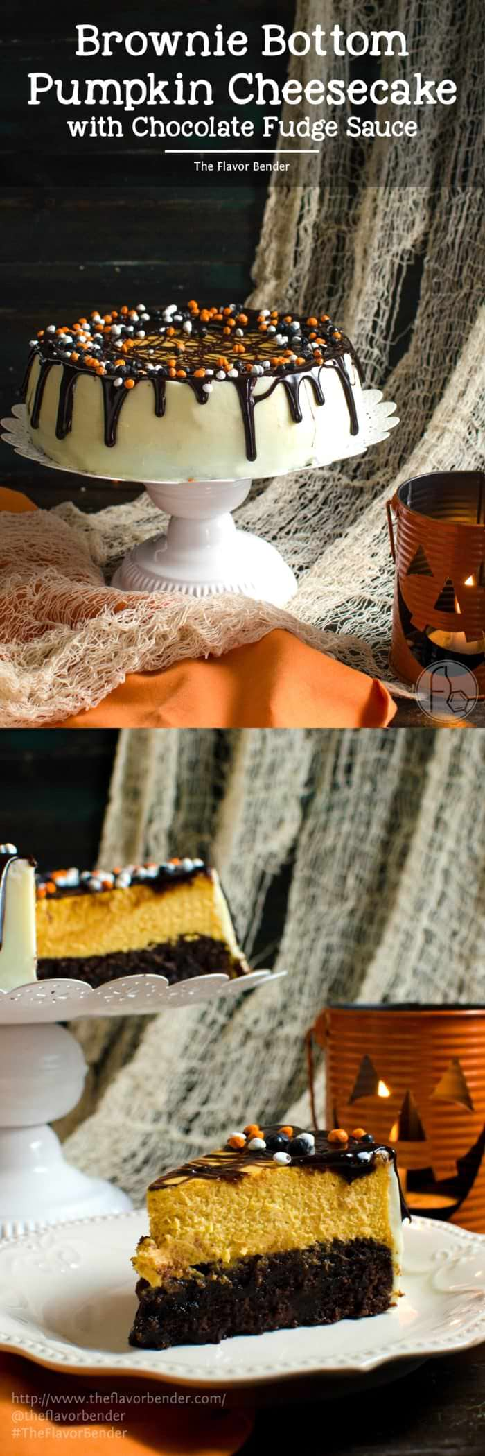 Brownie Bottom Pumpkin Cheesecake With Chocolate Fudge Sauce - A delicious combination of Fudgy brownies and creamy Pumpkin cheesecake in one dessert! Dress it up for Halloween or keep it simple to celebrate Thanksgiving or Fall. A great twist on Brownie Bottom Cheesecake with Fall flavors and Halloween cheer! #BakeFallFavorites @Target @pillsbury @TheFlavorBender