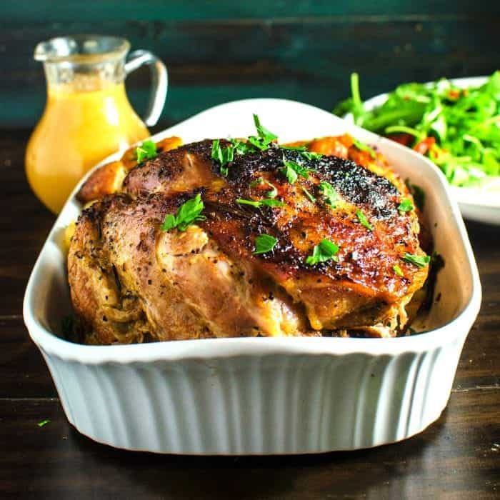 Slow Braised Pork Roast with Spiced Pear and Apple Sauce