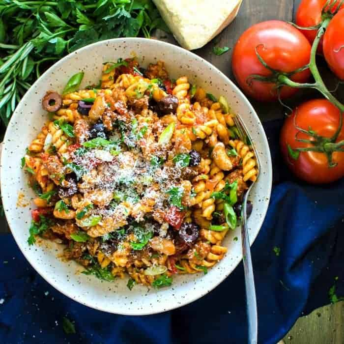This Spicy Sausage Tuscan Pasta dish is one of our go-to recipes that looks and tastes like a restaurant-quality meal but couldn't be more easy to make. It's all about those fresh, robust flavors that's good for you too!
