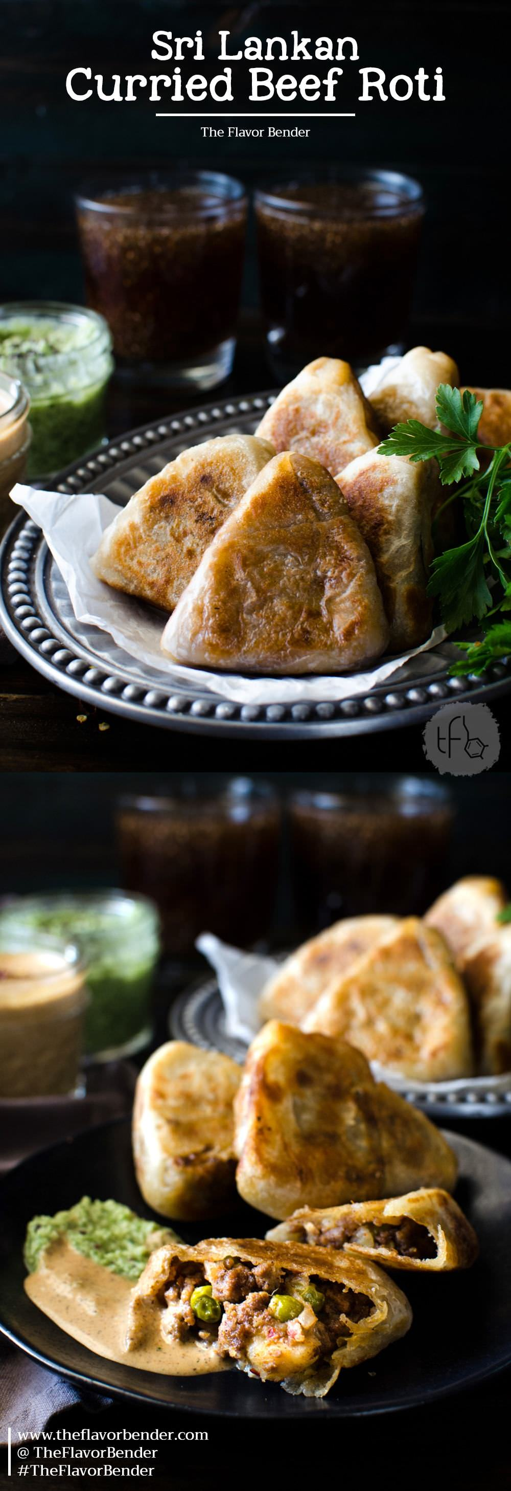 Curried Beef Roti - Snack sized Beef Stuffed Godhamba roti, a popular Sri Lankan snack, perfect for appetizers or parties