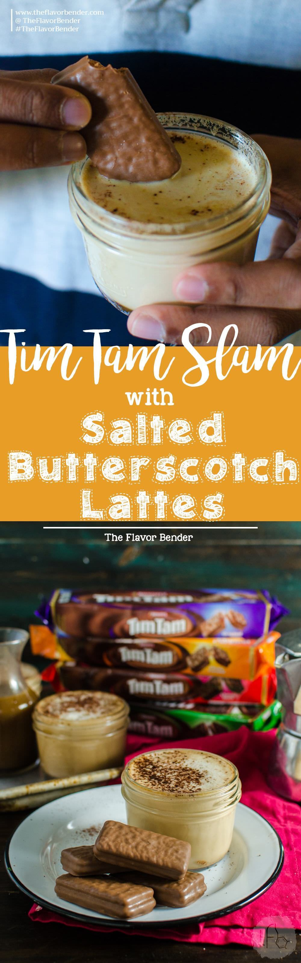 Mini Salted Butterscotch Latte with a Tim Tam Slam - Bring some seasonal indulgence with this easy Butterscotch latte and enjoy it with an Aussie classic - The Tim Tam Slam! Get the tips to get the most out of and make the best Tim Tam Slams! Get the recipe from theflavorbender.com Butterscotch | Latte | Coffee | Drinks | Non alcoholic | Tim Tam Slam |