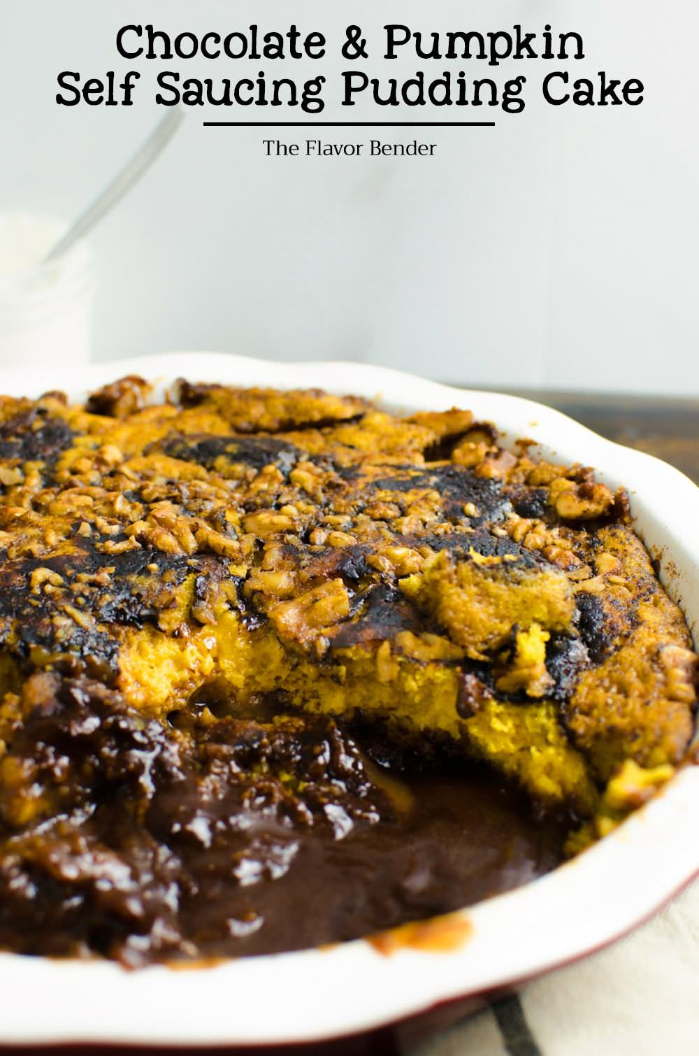 Saucing Pudding Cake - A warm, fudgy, chocolatey, pumkin spiced cake ...