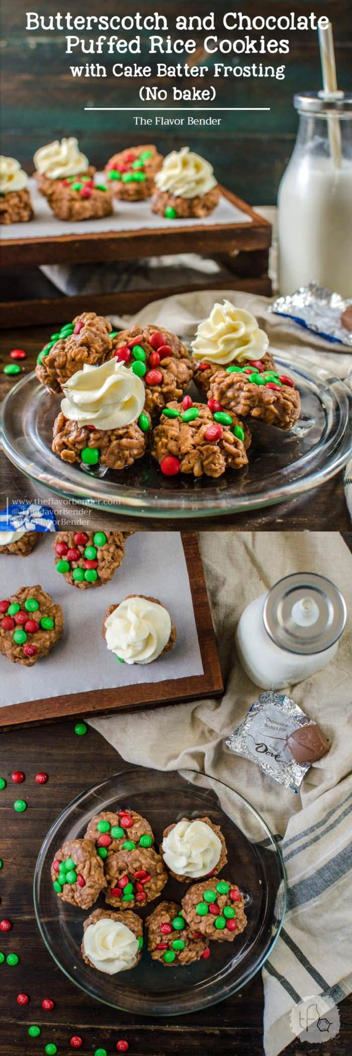 M&M's Butterscotch and Chocolate Puffed Rice Cookies - These no bake holiday cookies are so easy to make and super addictive! Butterscotch Chocolave M&Ms Puffed rice cookies with a creamy Cake batter cheesecake frosting.