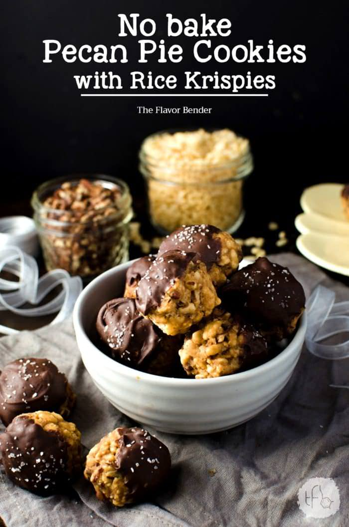 Chocolate dipped No bake Pecan Pie Cookies with Rice Krispies -pack all the nutty deliciousness of your fall-favorite pecan pies! Plus they make excellent gifts for the holidays too. Dairy-free friendly and vegan-friendly.