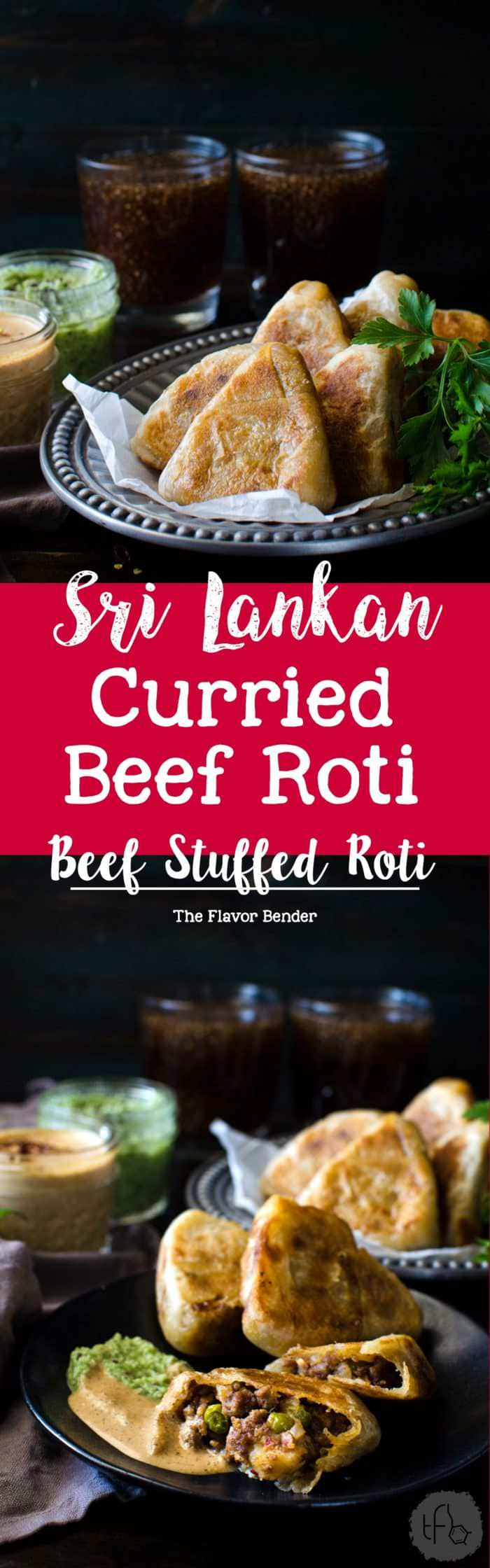 Curried Beef Roti - Now you can make snack sized Beef Stuffed Godhamba roti, a popular Sri Lankan snack, right at home. Spiced ground beef, wrapped in a thin soft roti and the perfect appetizer or party snack!
