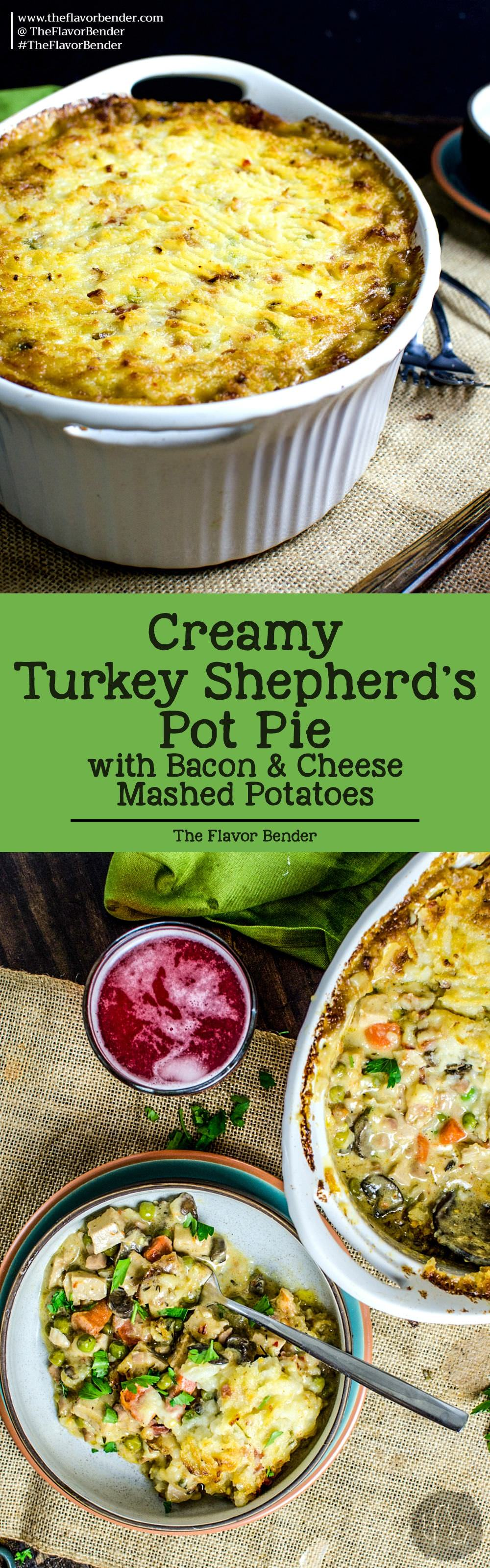 This Creamy Turkey Shepherd's Pot Pie topped with cheese, bacon and creamy mashed potato - giving your Thanksgiving Leftovers a complete makeover! Recipe from theflavorbender.com Thanksgiving | Thanksgiving leftovers | Turkey | Pot Pie | Shepherd's Pie | Mashed Potatoes | Bacon | Ham | Holiday | Friendsgiving |