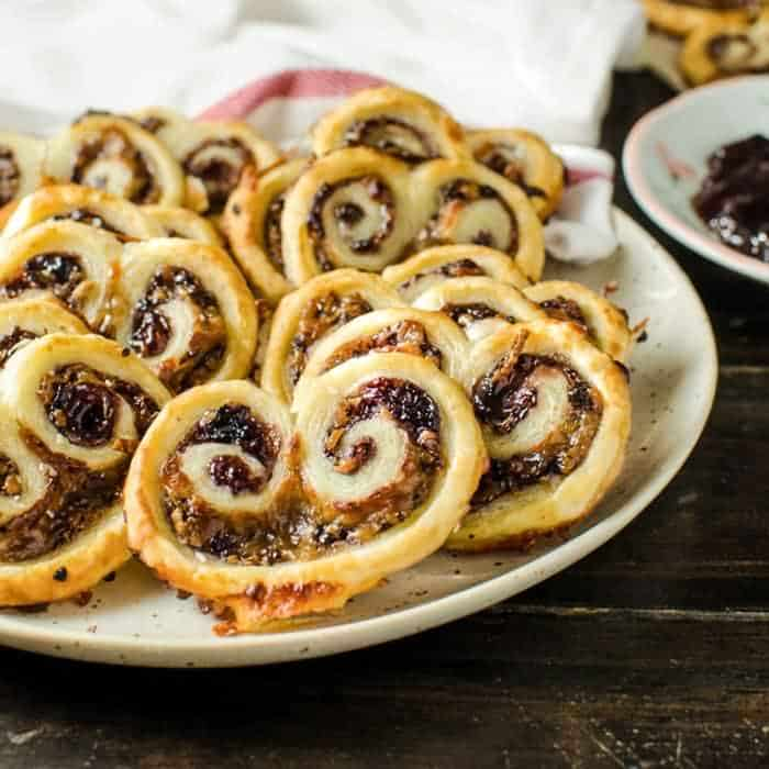 Easy, 3 ingredient Berry and Cheese Palmiers (Savory Palmiers)