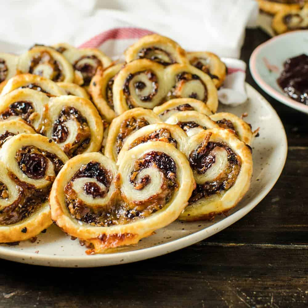 Easy, 3 ingredient Berry and Cheese Palmiers ( Savory Palmiers )