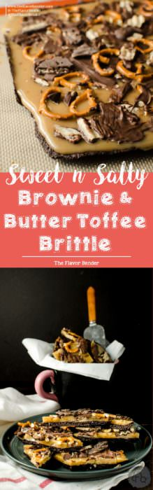 Sweet & Salty Brownie and Butter Toffee Brittle - Chewy chocolate brownie brittle, coated with an addictive buttery toffee layer and then sprinkled with salt, salted pretzel pieces, chocolate and Dark Chocolate Wavy Lays potato chips! Easy, customizable and makes for an excellent gift during the holiday season too!