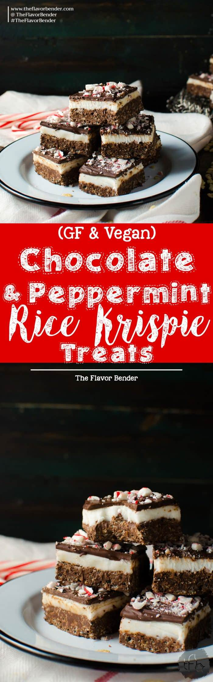 Chocolate Peppermint Rice Krispie Treats - These Rice Krispie Bars have a crunchy, cripsy dark chocolate rice krispie base with a soft refreshing peppermint center and topped with a thin layer of dark chocolate! An addictive Chocolate peppermint treat that's perfect for the holidays and for gift giving! Easy to make and kid-friendly. Gluten free and vegan friendly!