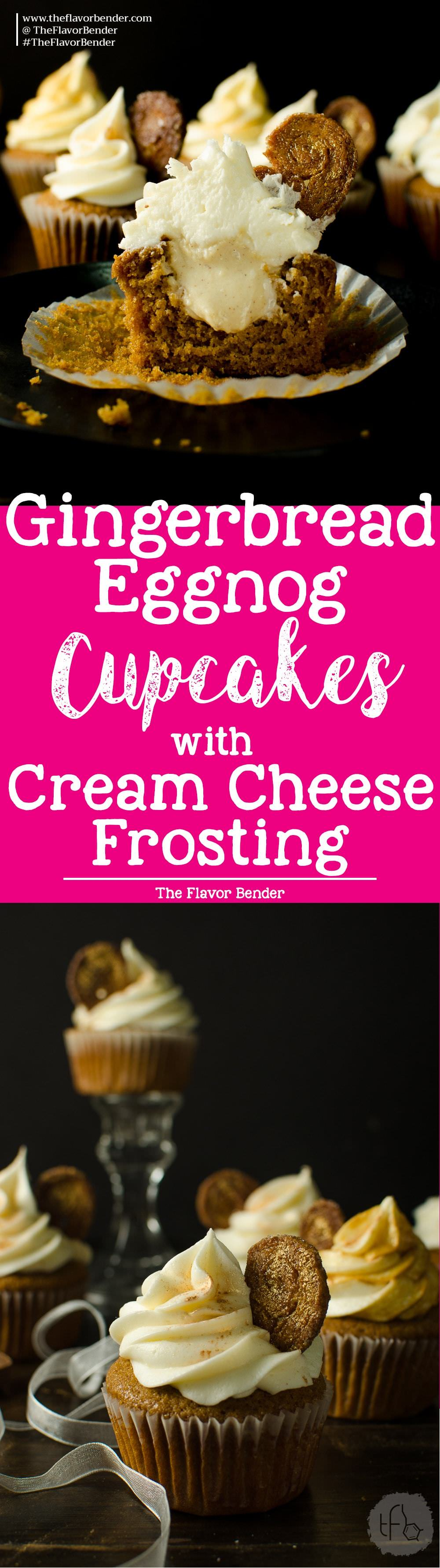 Gingerbread cupcakes with an Eggnog Pastry cream filling and Cream Cheese Frosting - Super soft, moist gingerbread spiced cupcakes. Holiday Baking | Gingerbread | Ginger | Eggnog | Cream Cheese Frosting | Eggnog Pastry Cream | Holiday | Cupcakes | Recipe via theflavorbender.com