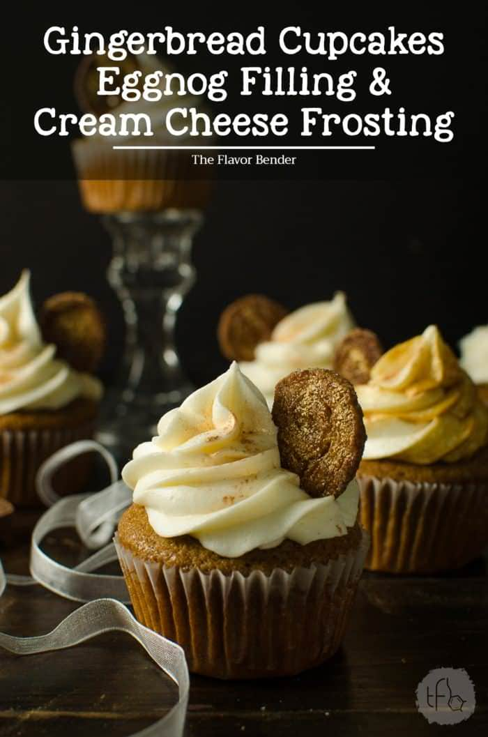 Gingerbread cupcakes with an Eggnog Filling and Cream Cheese Frosting - Super soft, moist gingerbread spiced cupcakes with a perfect crumb and an amazingly festive flavor profile, filled with a creamy eggnog pastry cream filling and a fluffy cream cheese frosting! Perfect for the Holiday season or any gingerbread fan!