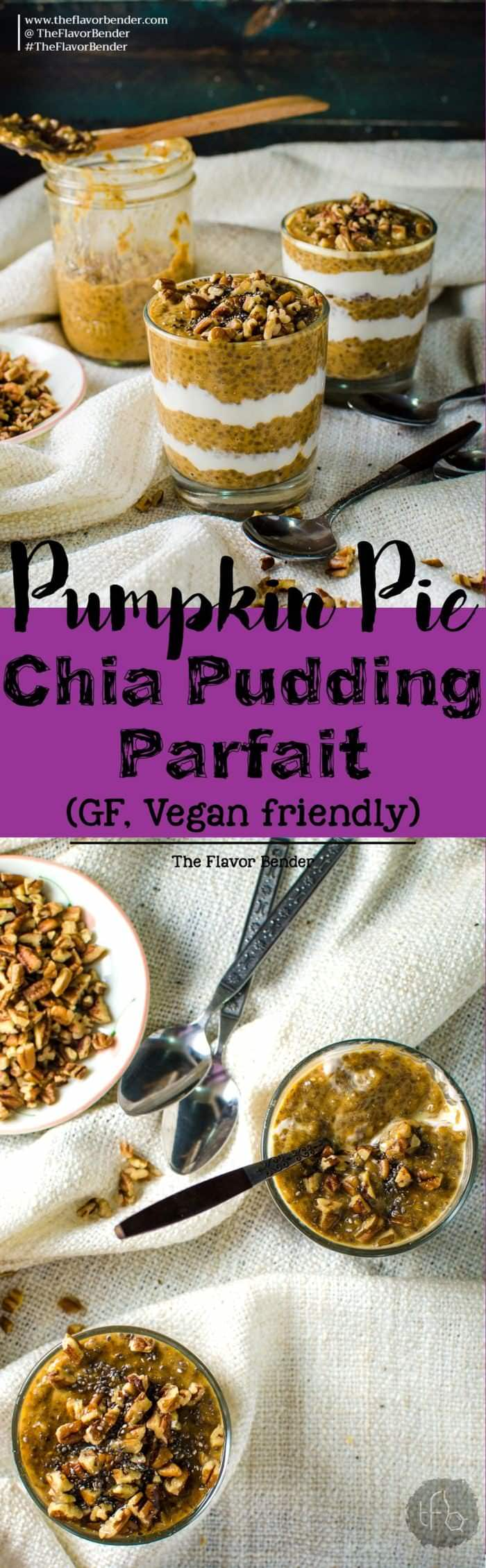 Overnight Pumpkin Pie Chia Pudding Parfait - the ultimate make-ahead, healthy, delicious breakfast! Full of fiber, protein and all the cozy flavors of Fall, the holidays and pumpkin pie, this parfait is gluten free, paleo-friendly and vegan friendly.