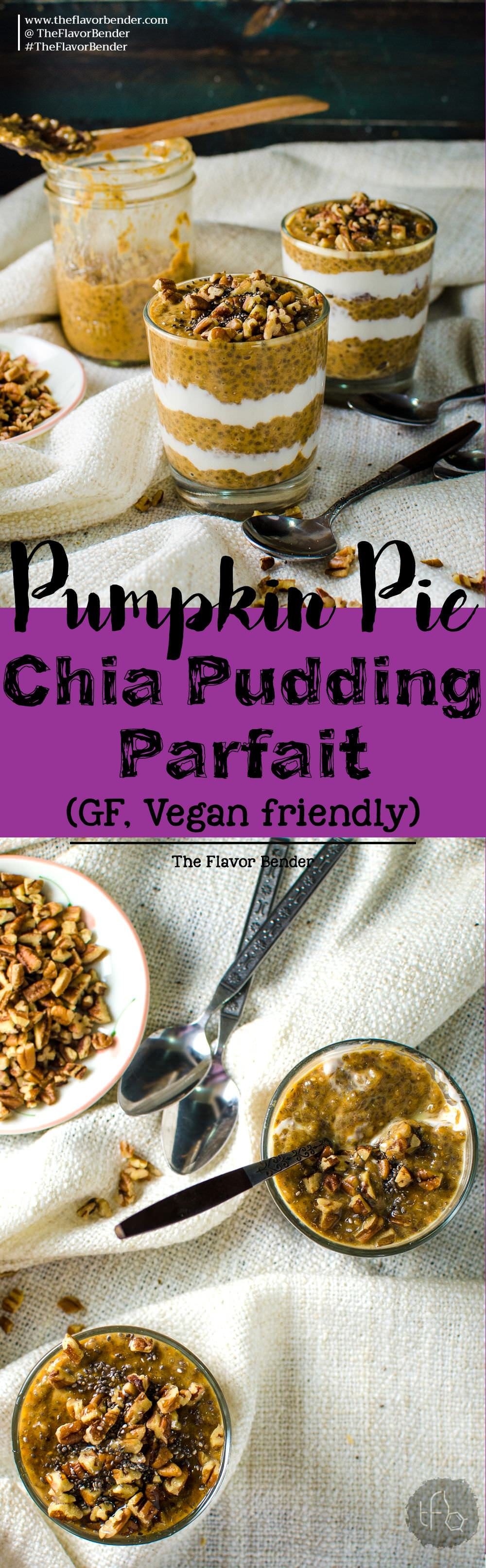 This creamy pumpkin pie chia pudding parfait is the ultimate make-ahead, healthy, delicious breakfast! Full of fiber, protein & cozy flavors of Fall! Breakfast | Parfait | Pumpkin | Pumpking Spice | Chia Pudding | Yogurt | Gluten free | Vegan Friendly | Paleo friendly | Overnight | Recipe via theflavorbender.com