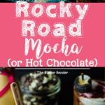 Rocky Road Mocha - (or Rocky Road Hot Chocolate) - delicious indulgence of rocky road candy in hot, luscious, chocolatey drink form. A warm and deep Chocolate and coffee drink flavored with Toasted Marshmallow Creamer and topped with a Peanut Butter Marshmallow fluff and Raspberry!