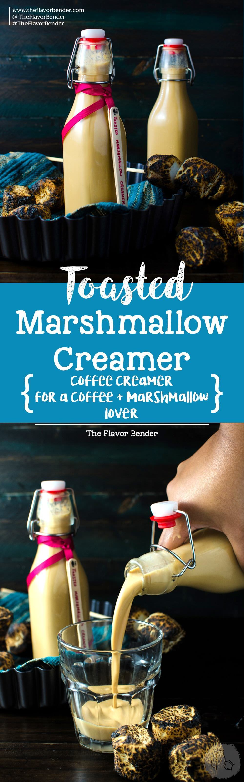 Homemade Toasted Marshmallow Creamer - A delicious, flavorful and EASY Toasted Marshmallow Coffee Creamer to flavor your morning coffees or even make cocktails! Makes an excellent gift to the coffee lover in your family! Plus it's Dairy Free Friendly too. Get the recipe from theflavorbender.com Marshmallow | Toasted Marshmallow | Coffee Creamers | Creamers | Holiday Gifts | Caramel |