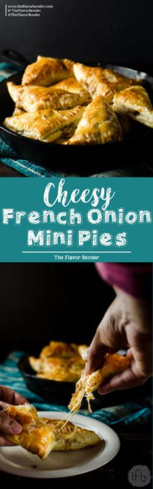 Mini Cheesy French Onion Pies - cozy comfort and robust flavor of French onion soup inside buttery, flaky pockets of puff pastry. Game day food   Appetizers   Puff Pastry   French Onion Soup   Hand Pies   Pies   Vegetarian options   March Madness