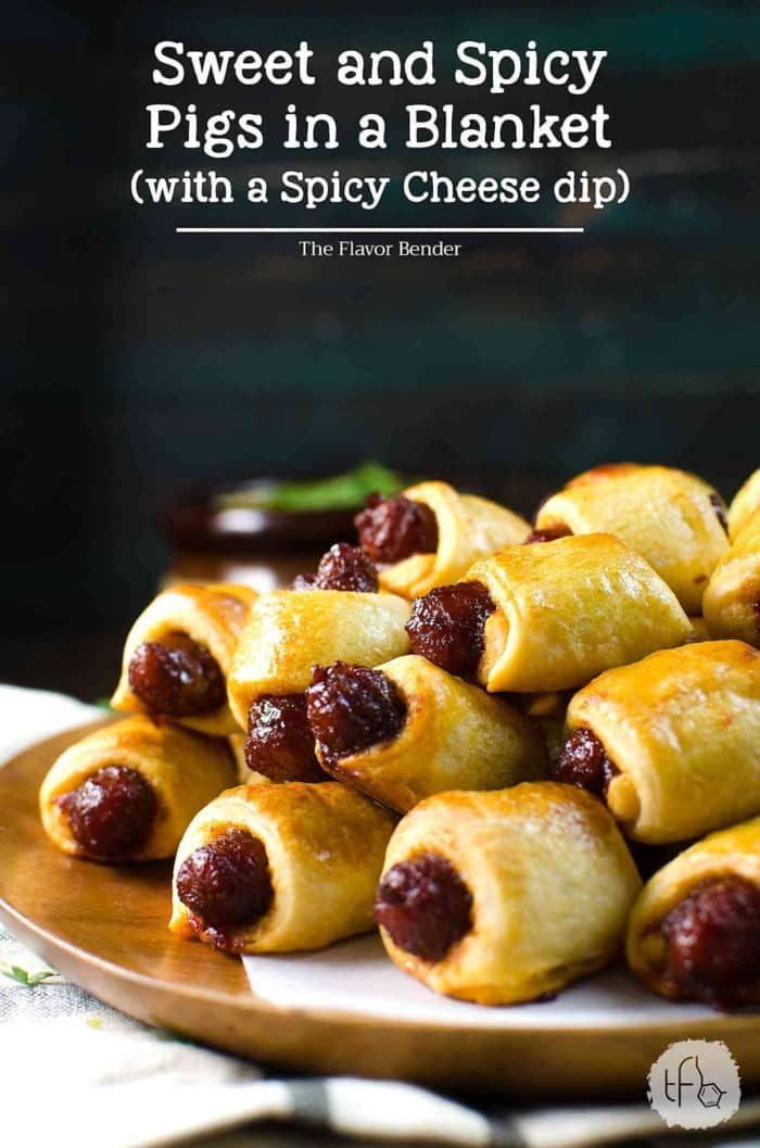Sweet and Spicy Pigs in a Blanket - Kick up your regular Pigs in a Blanket with this sweet and spicy version served with a creamy spicy cheese sauce, spiced with Habanero and Mustard. Perfect for Holiday Parties, Game day snacks, March Madness or any party! Party food | Appetizers | Pigs in a Blanket | Crescent dough | Nacho Sauce | Cheese Sauce | Game Day | March Madness | Holiday Appetizers