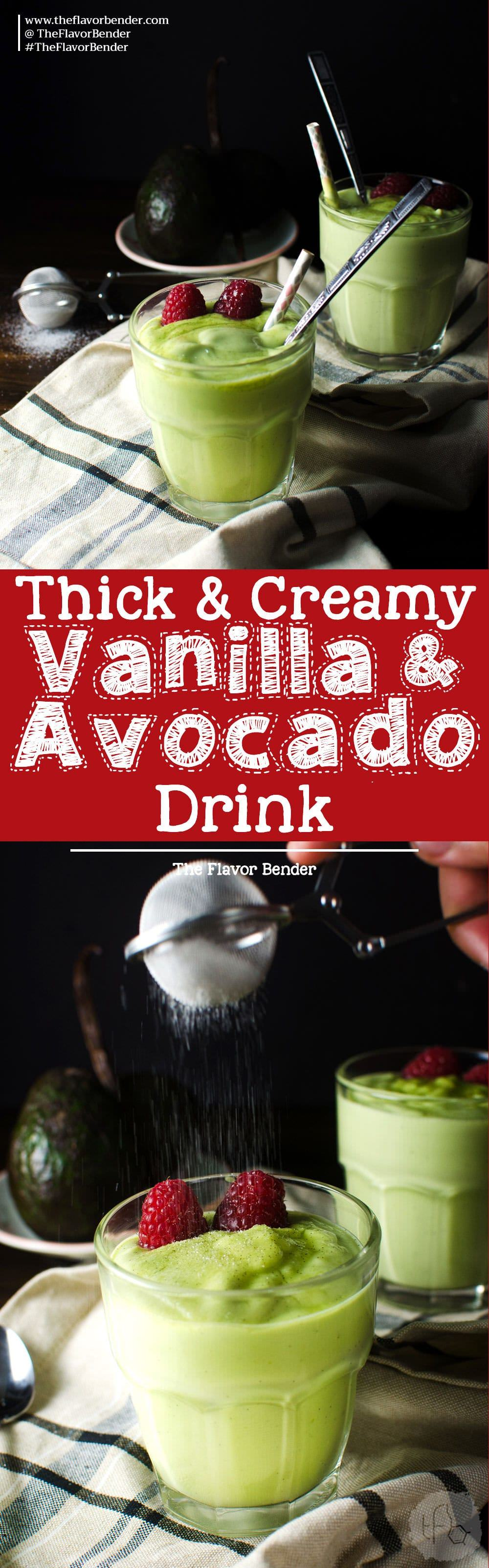 Creamy Vanilla Avocado Drink - This simple avocado based drink is a wonderful alternative as a dessert, a drink or creamy and thick milk shake! It's great to be served all year round and is a great kid friendly recipe!  Avocado Recipes | Milk Shakes | Thick Shakes | Desserts | Drinks |