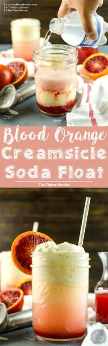 Blood Orange Creamsicle Soda Float - Creamy, citrusy, sweet & refreshing and is a favorite for both kids and adults alike, summer or winter. A great drinks and dessert in one. Perfect for parties with big crowds and even for Valentine's day.