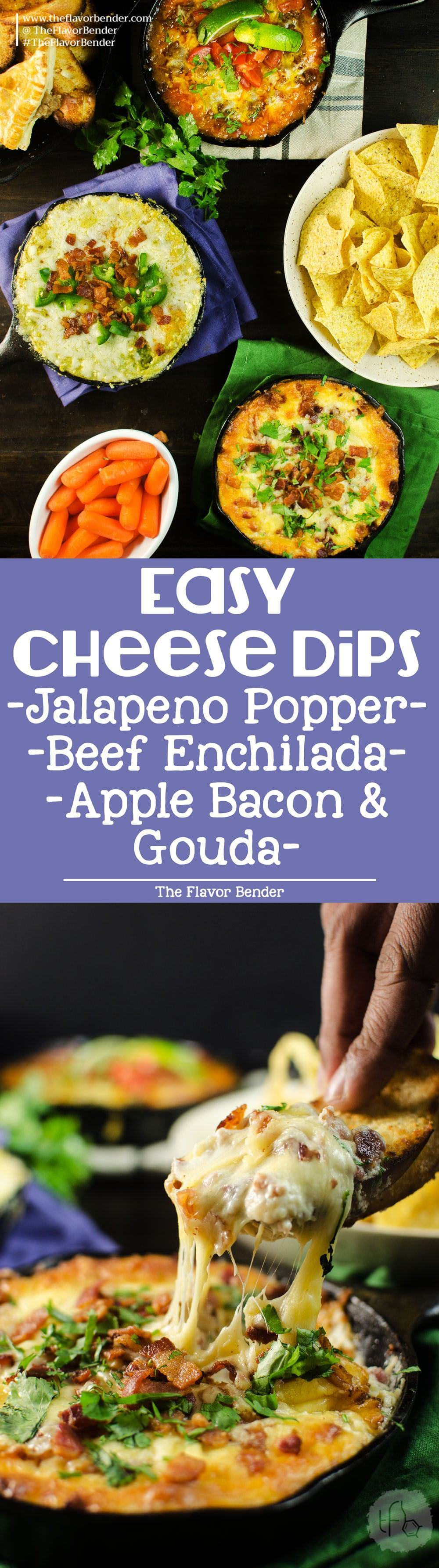 Get your Cheese lovers' party started with these easy Cheesy Dips! - Jalapeno Popper Dip | Cheesy Beef Enchilada Dip | and Apple, Bacon and Gouda Dip.  These Cheese Dips recipes are easy to make, and the gooey melted cheese will win over anyone's heart!