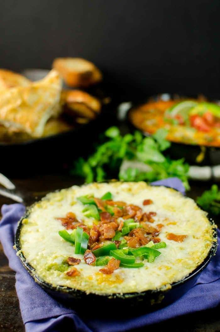 Get your Cheese lovers' party started with these easy Cheesy Dips! - Jalapeno Popper Dip | Cheesy Beef Enchilada Dip | and Apple, Bacon and Gouda Dip. So easy to make, and the gooey melted cheese will win over anyone's heart!