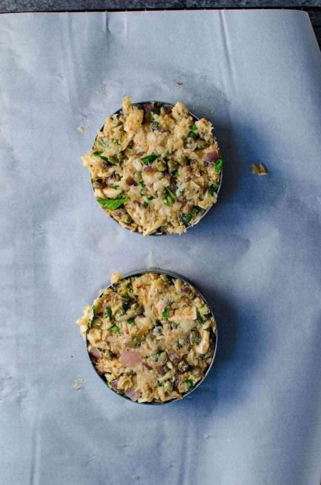 Crispy Tuna Burger with Lemon and Capers - Press in the tuna into egg rings to make it easier to form the patties. You can make 4 thinner patties, or two large ones.