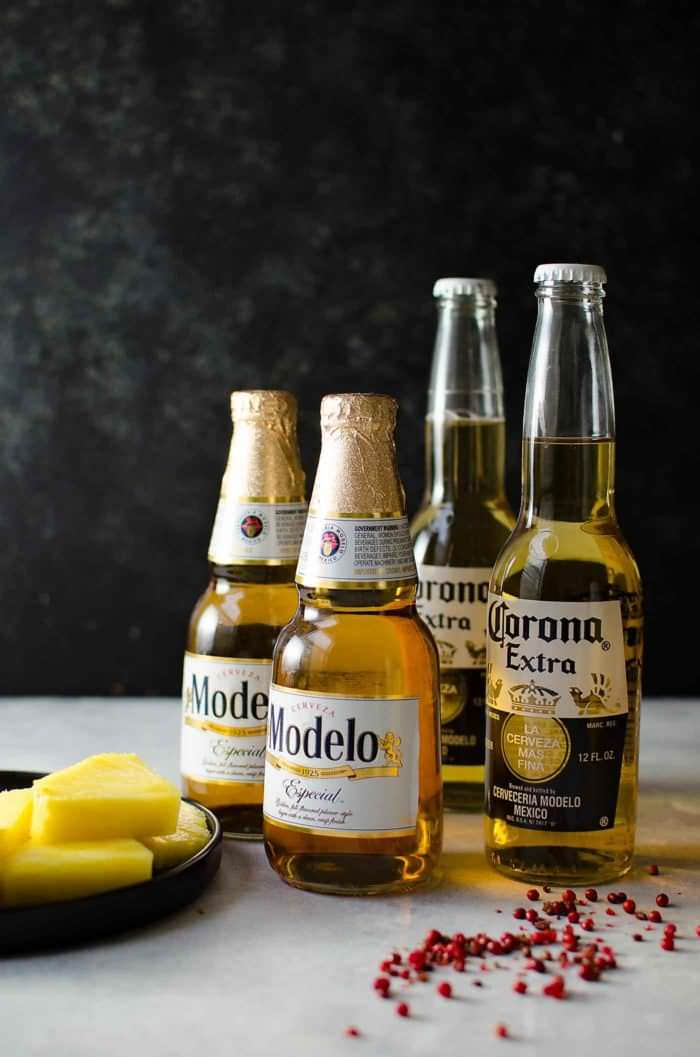 Frozen Pink Peppercorn Margarita Shandy - Modelo and Corona Extra. Great for parties!