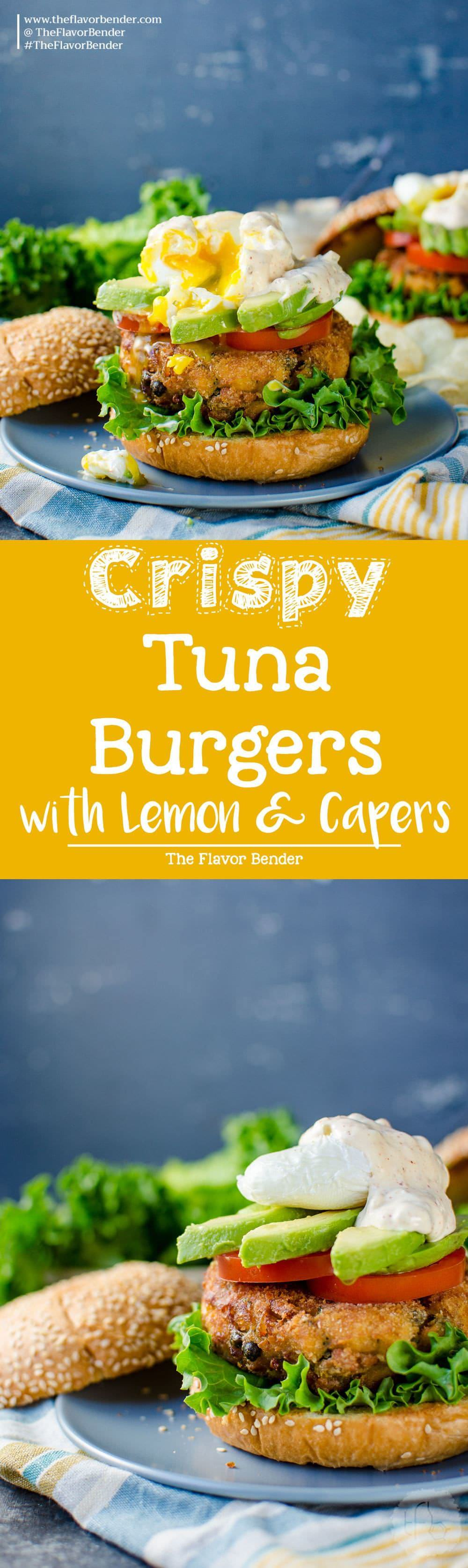 Crispy Tuna Burger with Lemon and Capers - A delicious burger topped with a spiced aioli tartar sauce, tomatoes, avocado and an egg. Transform your canned tuna into a scrumptious brunch burger or spectacular dinner with just a few easy steps.
