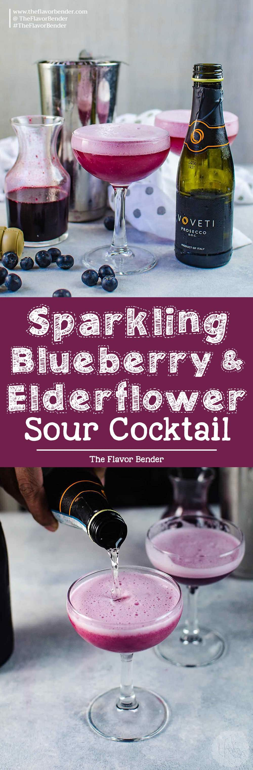 Sparkling Blueberry elderflower sour - This prosecco cocktail is a cross between a mimosa, and a whiskey sour. A gorgeous fruity and floral bubbly cocktail that is perfect for celebrations! Extra foamy and bubbly.