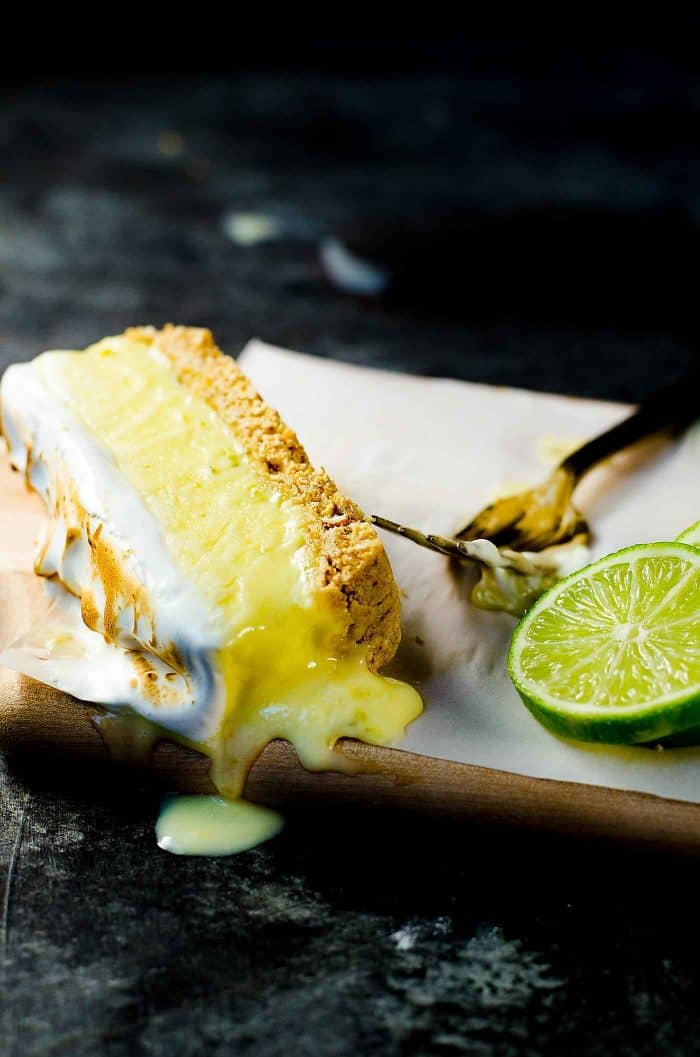 No Bake Frozen Margarita Pie Slice with a Pretzel crust