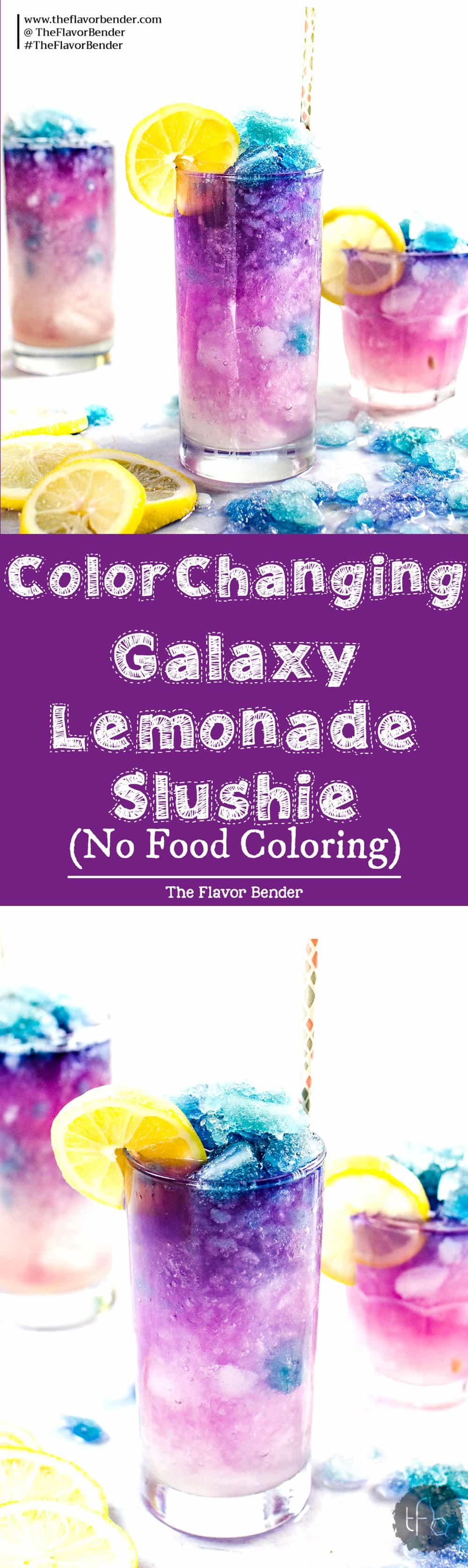 Color Changing Galaxy Lemonade Slushie - There's no food coloring in this Color Changing Lemonade Slushie! Just a dash of magic from magic ice and delicious lemonade that kids and adults will love. The ultimate Summer Lemonade drink! #Butterflypea #GalaxyLemonade #ButterflypeaLemonade #ColorChangingDrinks