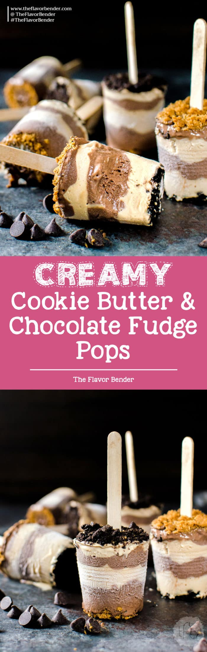Cookie Butter and Chocolate Fudge Pops -Melt in your mouth creamy, smooth, sweet and salty Cookie Butter and Chocolate Fudge Pops, topped with crushed Oreos and Biscoff cookies! Vegan Friendly too!